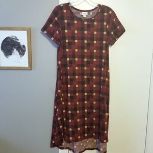 Lularoe Carly Dress, Red and Brown Plaid
